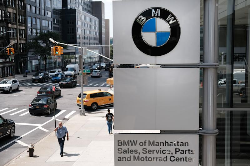 NEW YORK, NEW YORK - AUGUST 01: A BMW logo is displayed at a BMW showroom in Manhattan on August 01, 2019 in New York City. Blaming slowing sales in the U.S., China and Europe, BMW announced that its pre-tax profit fell to 2.1 billion euros ($2.3 billion) from 2.9 billion ($3.2 billion) in the same period of 2018. The iconic German auto company also claims that spending more on new technologies like electric cars and computer driven ones has hurt profits in the short term. (Photo by Spencer Platt/Getty Images)