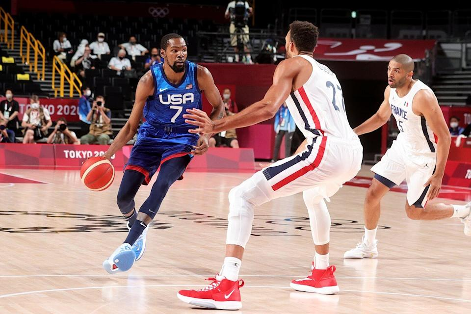 Kevin Durant of Team United States controls the ball during the Men's Basketball Preliminary Round Group A - Match 4 between France and USA on Day 2 of the Tokyo 2020 Olympic Games at Saitama Super Arena on July 25, 2021 in Tokyo, Japan.