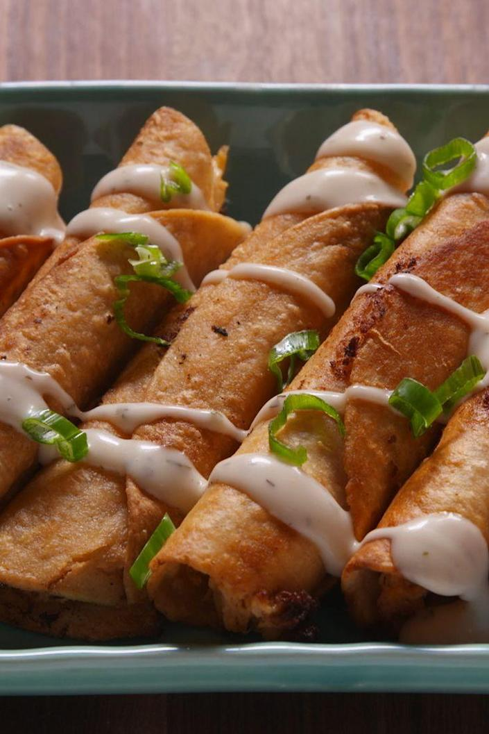 """<p>If you love buffalo chicken, you'll freak out over these buffalo chicken taquitos. </p><p>Get the recipe from <a href=""""https://www.delish.com/cooking/recipe-ideas/recipes/a47348/buffalo-chicken-taquitos-recipe/"""" rel=""""nofollow noopener"""" target=""""_blank"""" data-ylk=""""slk:Delish"""" class=""""link rapid-noclick-resp"""">Delish</a>.</p>"""