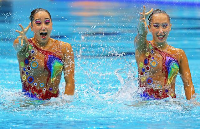 Mi Hyang Jang and Hui Yon Jong of Korea compete in the Women's Duets Synchronised Swimming Technical Routine on Day 9 of the London 2012 Olympic Games at the Aquatics Centre on August 5, 2012 in London, England. (Photo by Clive Rose/Getty Images)