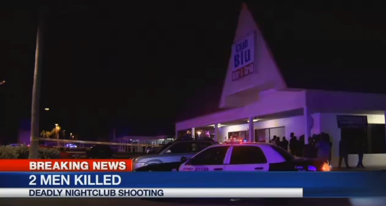 <p>In this frame from video, people gather near the scene of a fatal shooting at Club Blu nightclub in Fort Myers, Fla., Monday, July 25, 2016. (WBBH via AP)</p>