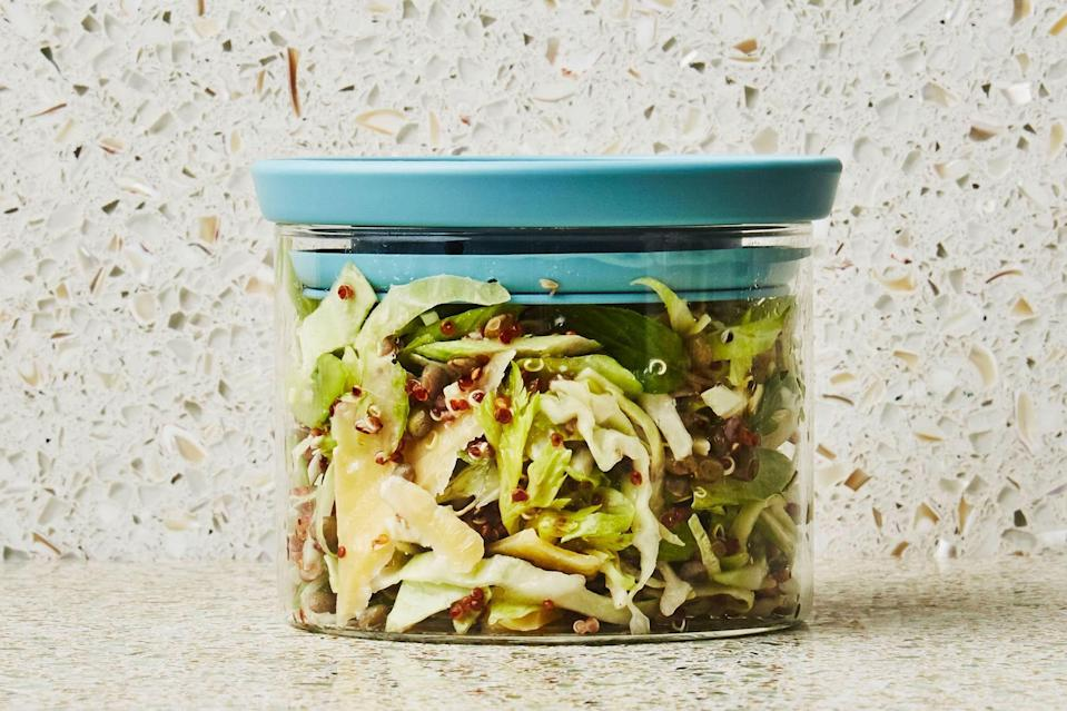 """Remember this picnic lunch trick: You can cook lentils and quinoa together, up to a full day ahead of making this crunchy, tangy, satisfying salad. <a href=""""https://www.epicurious.com/recipes/food/views/quinoa-bowl-with-lentils-and-mustard-vinaigrette?mbid=synd_yahoo_rss"""" rel=""""nofollow noopener"""" target=""""_blank"""" data-ylk=""""slk:See recipe."""" class=""""link rapid-noclick-resp"""">See recipe.</a>"""