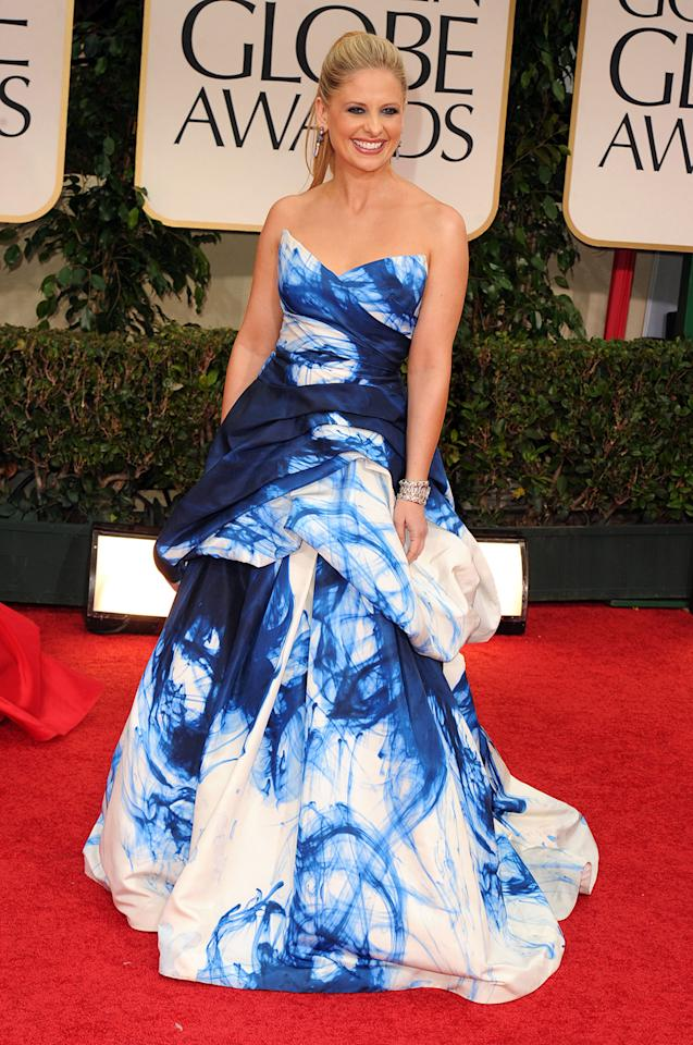Worst pattern disaster: In one of the biggest fashion flops of the 2012 Golden Globe Awards, Sarah Michelle Gellar donned this bizarre tie-dye explosion by Monique Lhuillier.