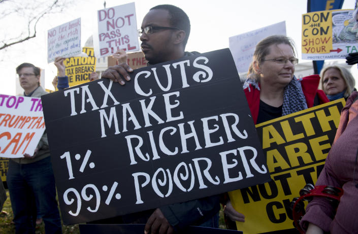 """<p>Demonstrators against the Republican tax reform bill hold a """"Peoples Filibuster to Stop Tax Cuts for Billionaires,"""" protest rally outside the US Capitol on Capitol Hill in Washington, Nov. 30, 2017. (Photo: Saul Loeb/AFP/Getty Images) </p>"""