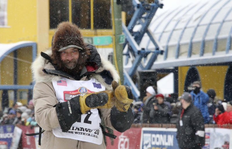 Four-time Iditarod Trail Sled Dog Race champion Lance Mackey is shown before the ceremonial start of the Iditarod Trail Sled Dog Race Saturday, March 7, 2020, in Anchorage, Alaska. The real race starts March 8 about 50 miles north of Anchorage, with the winner expected in the Bering Sea coastal town of Nome about 10 or 11 days later. (AP Photo/Mark Thiessen)