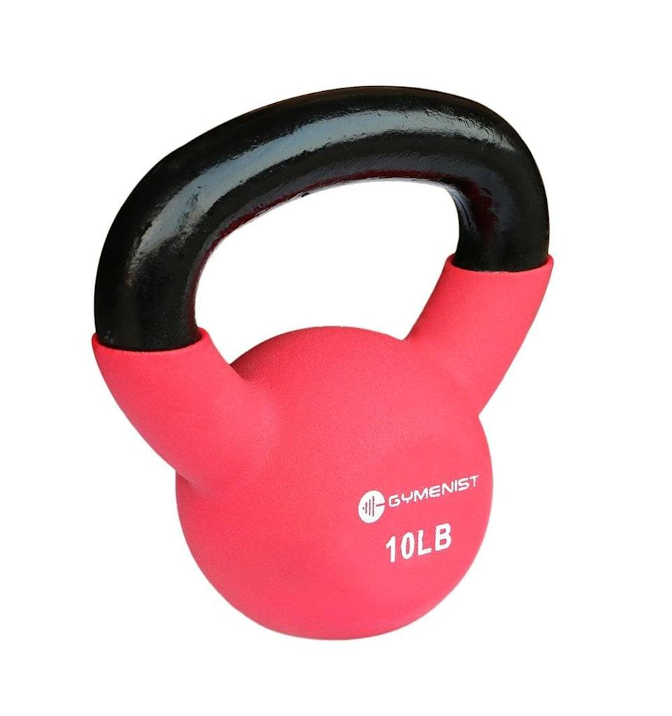 """<p>These <a href=""""https://www.popsugar.com/buy/Kettlebell-Weights-431723?p_name=Kettlebell%20Weights&retailer=amazon.com&pid=431723&price=22&evar1=fit%3Aus&evar9=46418649&evar98=https%3A%2F%2Fwww.popsugar.com%2Fphoto-gallery%2F46418649%2Fimage%2F46418696%2FGYMENIST-Kettlebell-Fitness-Iron-Weights&list1=shopping%2Cfitness%20gear%2Chome%20workouts%2Cfitness%20shopping&prop13=api&pdata=1"""" class=""""link rapid-noclick-resp"""" rel=""""nofollow noopener"""" target=""""_blank"""" data-ylk=""""slk:Kettlebell Weights"""">Kettlebell Weights</a> ($22) come in several other choices, ranging from 5 to 50 pounds.</p>"""