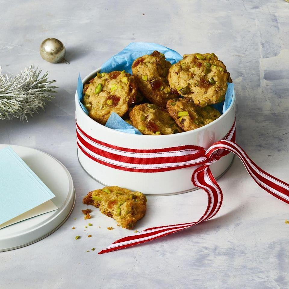 """<p>These cookies, packed with chewy candied ginger, orange peel and pistachios, are a festive nod to fruit cake.</p><p><em><a href=""""https://www.womansday.com/food-recipes/food-drinks/a29774621/candied-ginger-and-citrus-kitchen-sink-cookies/"""" rel=""""nofollow noopener"""" target=""""_blank"""" data-ylk=""""slk:Get the recipe from Woman's Day »"""" class=""""link rapid-noclick-resp"""">Get the recipe from Woman's Day »</a></em></p>"""