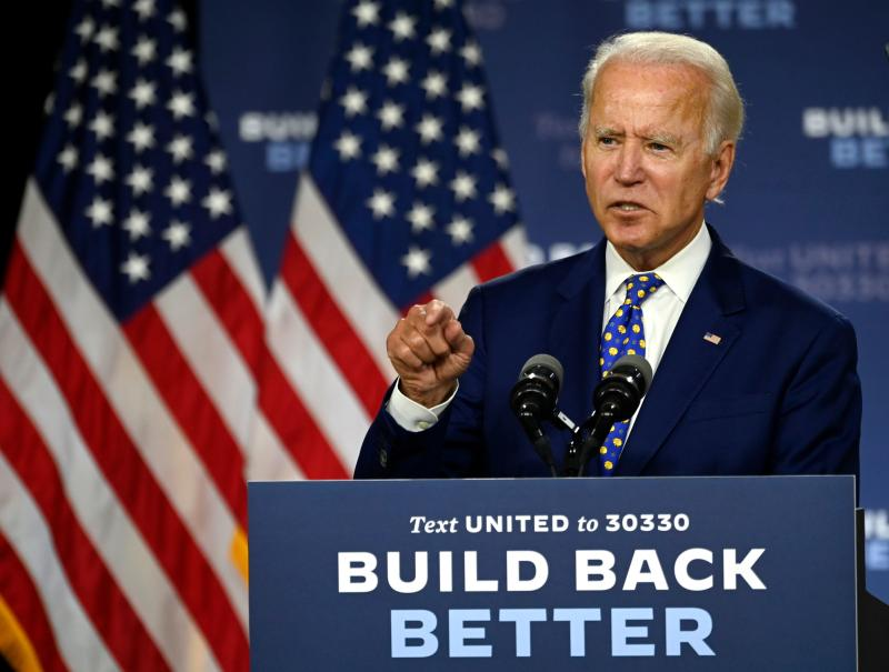 "US Democratic presidential candidate and former Vice President Joe Biden speaks during a campaign event at the William ""Hicks"" Anderson Community Center in Wilmington, Delaware on July 28, 2020. (Photo by ANDREW CABALLERO-REYNOLDS / AFP) (Photo by ANDREW CABALLERO-REYNOLDS/AFP via Getty Images)"