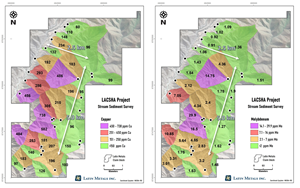 Stream sediment sampling results from Lacsha showing copper (left) and molybdenum (right), highlighting the 5.0 km by 2.5 km copper-molybdenumgeochemical anomalies.