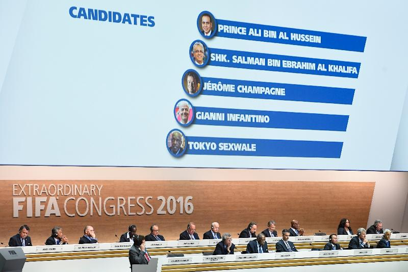 A monitor behind delegates displays the names of the FIFA presidential candidates during the extraordinary FIFA Congress in Zurich on February 26, 2016 (AFP Photo/Olivier Morin)