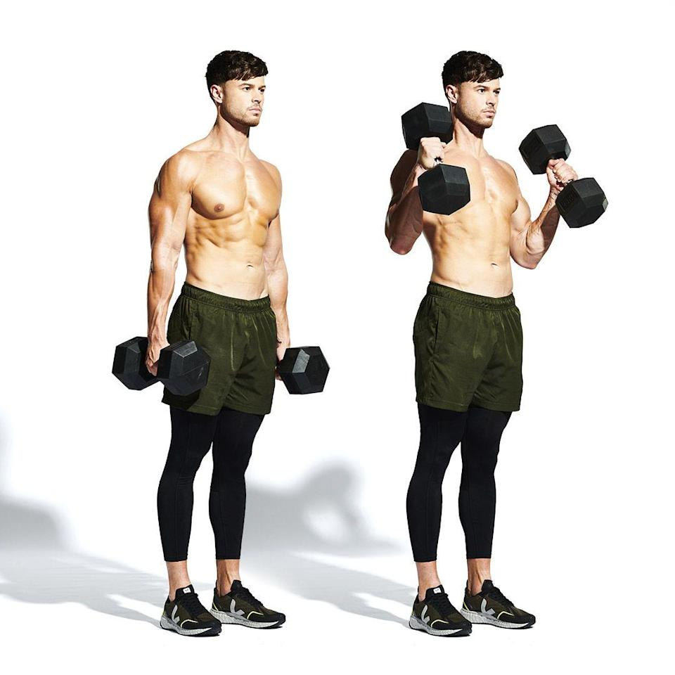 <p>Tired yet? Rest your lungs and focus on an arm pump. Start by standing with the dumbbells at your sides (<strong>A</strong>). Maintaining this neutral grip, flex your biceps to lift the weights to your shoulders (<strong>B</strong>). Now, squeeze! Lower under control and keep pumping for the full 10 reps.</p>