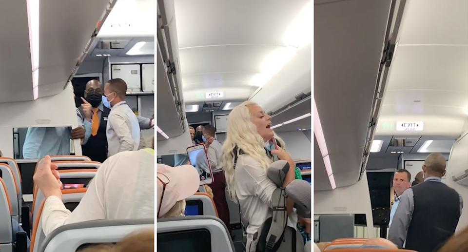 A couple were kicked off a San Diego-bound flight over a face mask dispute. Source: Reddit/u/CheetahPitiful47