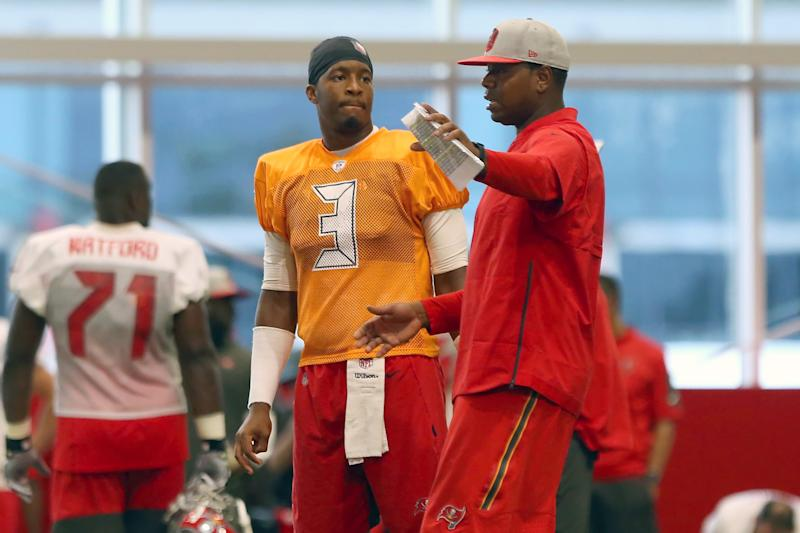 TAMPA, FL - AUG 07: Quarterback Jameis Winston (3) listens to Offensive Coordinator Byron Leftwich during the Tampa Bay Buccaneers Training Camp on August 07, 2019 at the AdventHealth Training Center at One Buccaneer Place in Tampa, Florida. (Photo by Cliff Welch/Icon Sportswire via Getty Images)