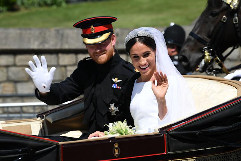 The Duke and Duchess of Sussex are waving goodbye. Image: Getty
