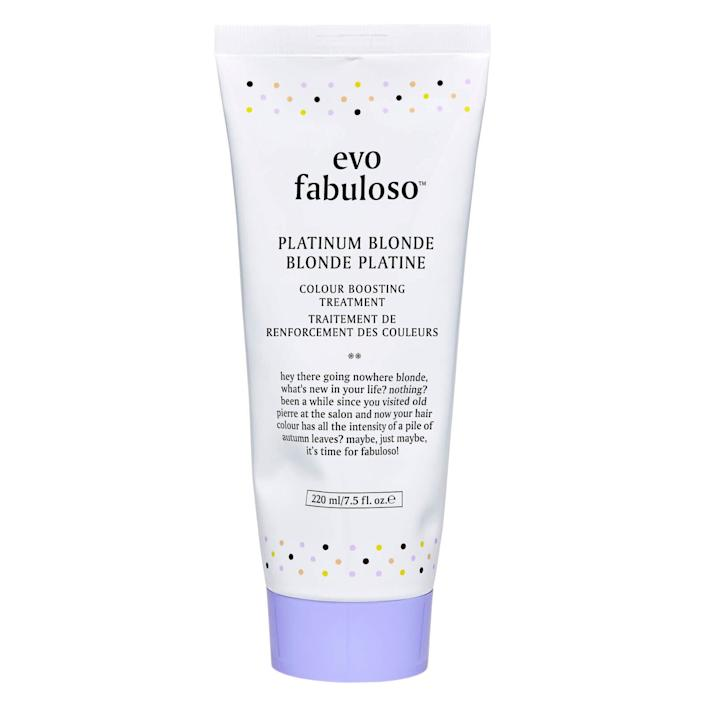 """This Evo Fabuloso color-boosting treatments is made to maintain platinum blonde hair. Find it for $26 at <a href=""""https://fave.co/33LRUlc"""" rel=""""nofollow noopener"""" target=""""_blank"""" data-ylk=""""slk:Skinstore"""" class=""""link rapid-noclick-resp"""">Skinstore</a>."""