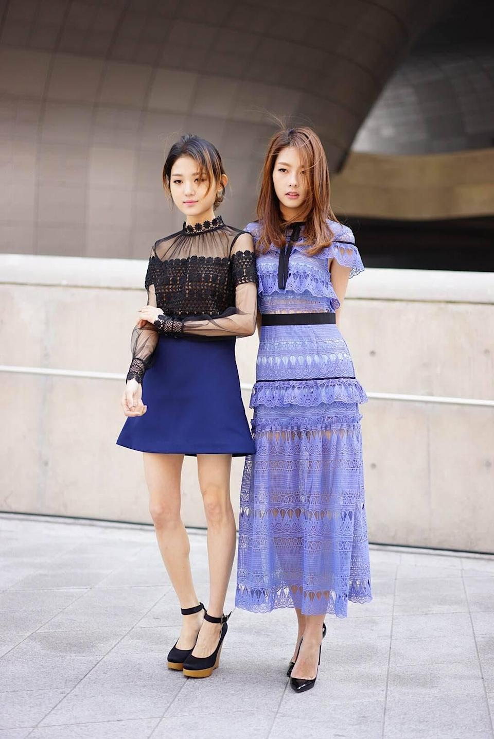 """<p>Within a few seasons, <a href=""""https://www.yahoo.com/style/11-jaw-dropping-dresses-from-c1442098225220.html"""" data-ylk=""""slk:Self-Portrait's edgy-feminine dresses;outcm:mb_qualified_link;_E:mb_qualified_link;ct:story;"""" class=""""link rapid-noclick-resp yahoo-link"""">Self-Portrait's edgy-feminine dresses</a> have become regulars on the red carpet and in street style snaps. But if you don't have $600 to drop on a Self-Portrait frock, here's how to achieve the same look for pennies on the dollar. (<i>Photo: <a href=""""http://garbagelapsap.com"""" rel=""""nofollow noopener"""" target=""""_blank"""" data-ylk=""""slk:Garbagelapsap"""" class=""""link rapid-noclick-resp"""">Garbagelapsap</a>)</i></p>"""