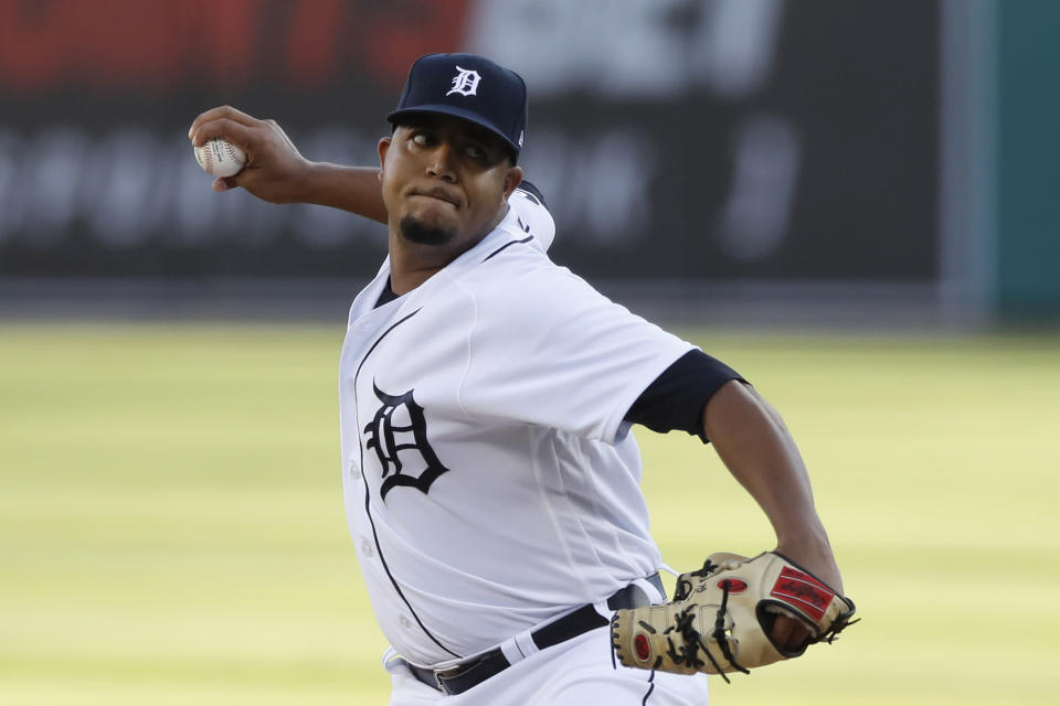Detroit Tigers starting pitcher Rony Garcia throws during the first inning of a baseball game against the Kansas City Royals, Tuesday, July 28, 2020, in Detroit. (AP Photo/Carlos Osorio)