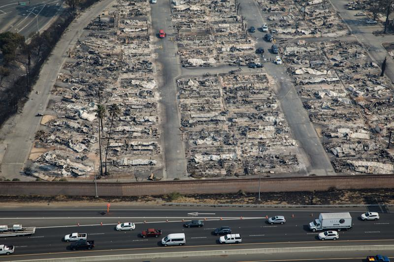 An aerial view shows the Journey's End mobile home park in Santa Rosa.