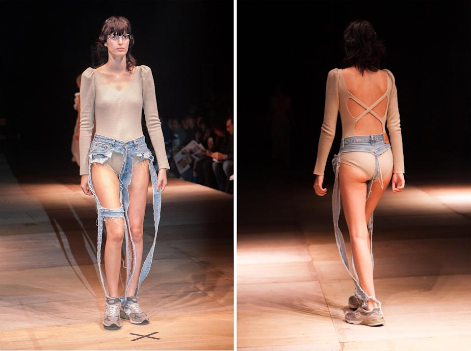 <p>Japanese brand Thibaut sent a model wearing a pair of insanely distressed jeans. So distressed, in fact, that she was basically just wearing a denim thong.<br><i>[Photo: Splash News]</i> </p>