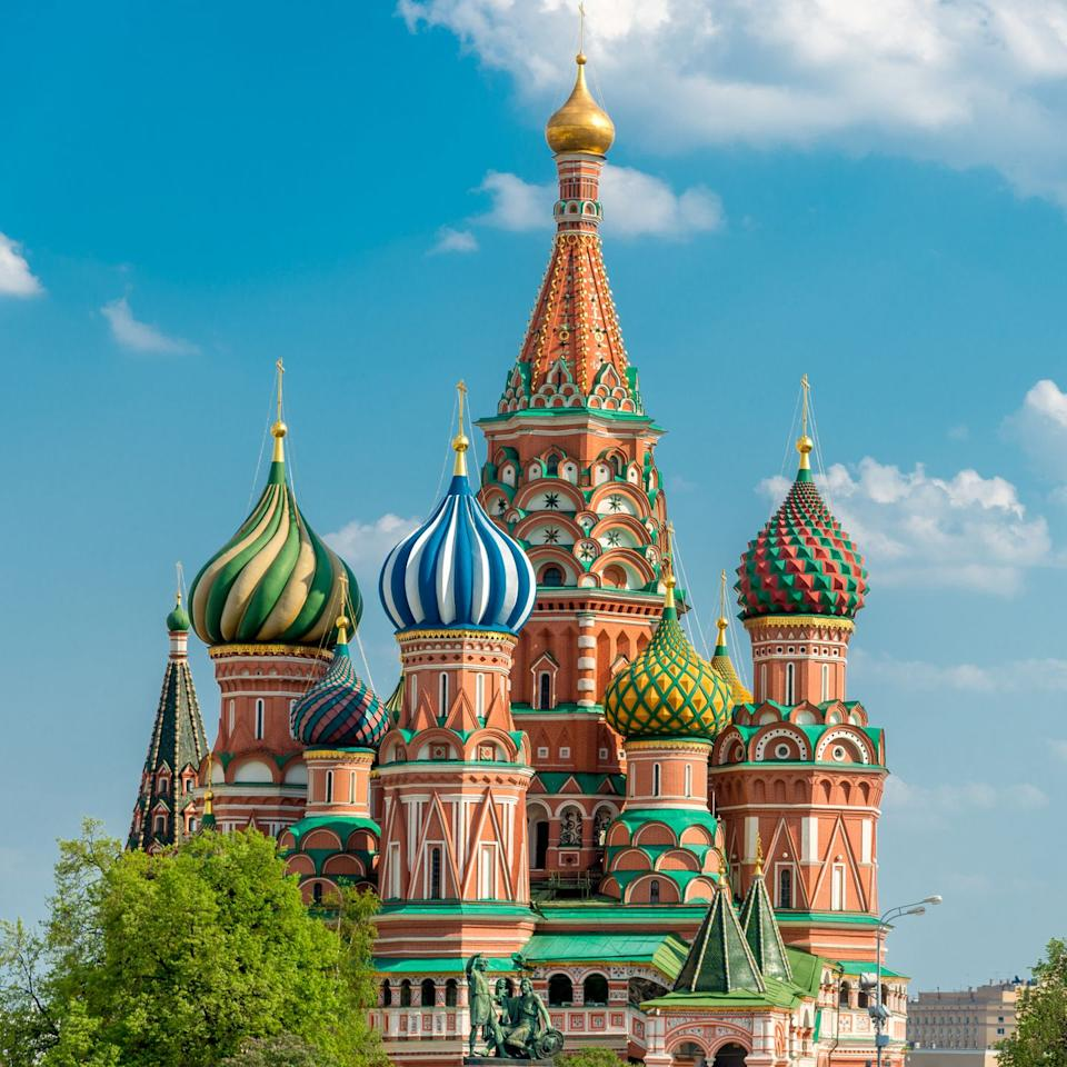 """<p>St. Basil's is Russia's most iconic landmark, located in the heart of the Red Square. The cathedral was built during the reign of Ivan IV—known as """"Ivan the Terrible""""—who, legend has it, is said to have blinded the architects after its construction so that they would never build something so beautiful again. While the exterior of St. Basil's, which was completed in 1561, is vibrant and ornamented, its interior takes on more neutral motif, but is striking nonetheless.</p>"""