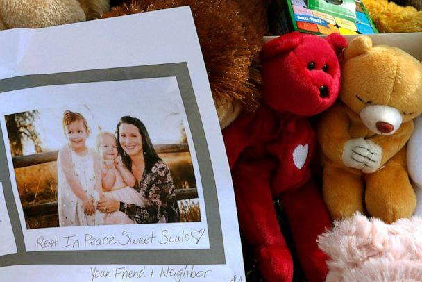 PHOTO: A photograph of Shanann Watts and her daughters, Bella, 4, left, and Celeste, 3, is shown at a makeshift memorial in Frederick, Colo., Aug. 16, 2018. (David Zalubowski/AP, FILE)