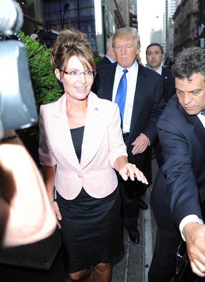 "After their big meeting, the two weren't quite ready to announce the Palin-Trump ticket for 2012. Or as Donald would surely want it, the Trump-Palin ticket. Ron Asadorian/<a href=""http://www.splashnewsonline.com"" target=""new"">Splash News</a> - May 31, 2011"