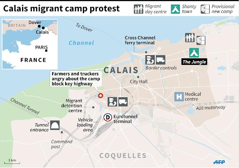 Map of Calais showing the migrant camps on the edge of the city and key locations, including the Channel Tunnel boarding point (AFP Photo/Paul Defosseux, Laurence Saubadu)
