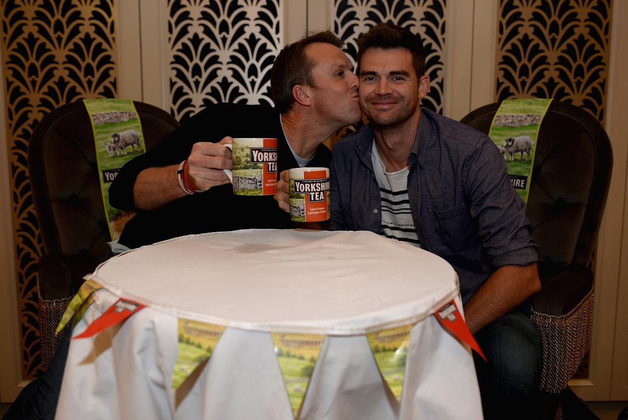 SYDNEY, AUSTRALIA - NOVEMBER 10:  England cricketers Graeme Swann and Jimmy Anderson enjoy a cuppa during a Yorkshire Tea Fish and Chip Supper at the Tea Room at Queen Victoria Building on November 10, 2013 in Sydney, Australia.  (Photo by Gareth Copley/Getty Images for Yorkshire Tea)