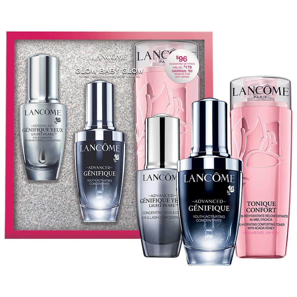 "<p><strong>Lancôme</strong></p><p>sephora.com</p><p><strong>$96.00</strong></p><p><a href=""https://go.redirectingat.com?id=74968X1596630&url=https%3A%2F%2Fwww.sephora.com%2Fproduct%2Flancome-glow-baby-glow-hydration-radiance-bestsellers-P462707&sref=https%3A%2F%2Fwww.redbookmag.com%2Fbeauty%2Fg34587516%2Fsephora-beauty-gifts%2F"" rel=""nofollow noopener"" target=""_blank"" data-ylk=""slk:Shop Now"" class=""link rapid-noclick-resp"">Shop Now</a></p><p>Another great skincare set is this Lancôme glow routine set. It includes a toner, an eye cream, and a serum, all of which will leave skin radiant, smooth, and super soft. And for anyone concerned about anti-aging, this is especially ideal. </p>"