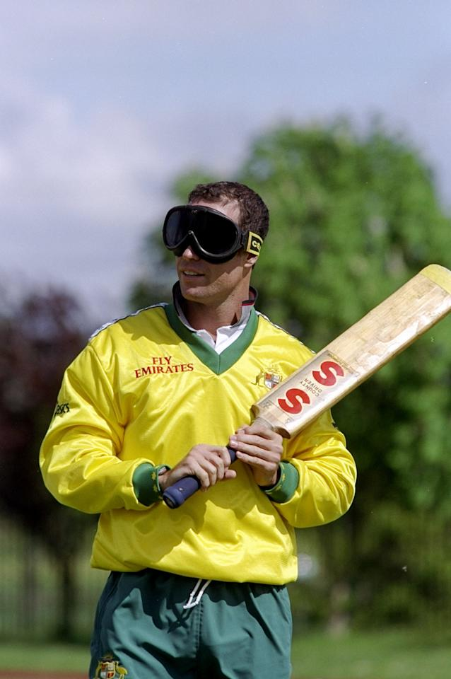 13 May 1999:  Michael Bevan of Australia partakes in Blind Cricket in Worcester, England. \ Mandatory Credit: Clive Mason /Allsport