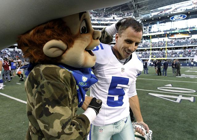 The Dallas Cowboys mascot Rowdy, left, congratulates Dan Bailey (5) on his game winning field goal against the Cleveland Browns in overtime of an NFL football game Sunday, Nov. 18, 2012 in Arlington, Texas. The Cowboys won 23-20. (AP Photo/Brandon Wade)
