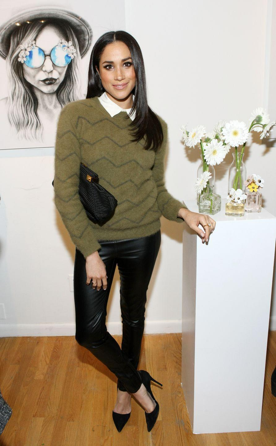 <p>Meghan Markle attends the Marc Jacobs Daisy Chain Tweet Pop Up Shop Party, February 2014</p>