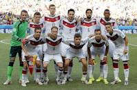 The German team pose for a group photo before the group G World Cup soccer match between Germany and Ghana at the Arena Castelao in Fortaleza, Brazil, Saturday, June 21, 2014. (AP Photo/Matthias Schrader)