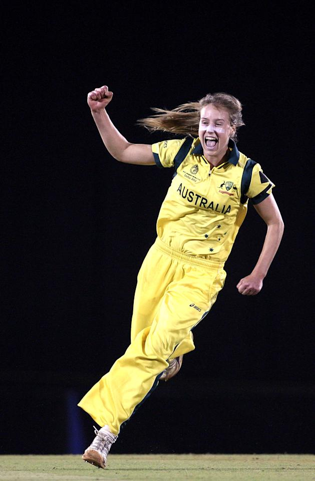 MUMBAI, INDIA - FEBRUARY 17: Ellyse Perry of Australia celebrates  after dismissing Stefanie Taylor of West Indies  during the final between Australia and West Indies of the Women's World Cup India 2013 played at the Cricket Club of India ground on February 17, 2013 in Mumbai, India. (Photo by Graham Crouch/ICC via Getty Images)