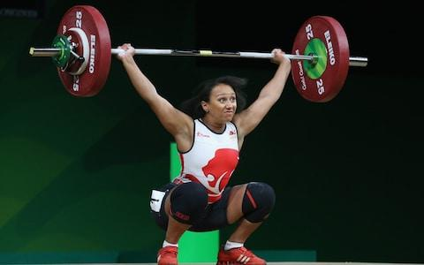 England's Zoe Smith competes during the Women's 63kg Weightlifting Final on day three of the Gold Coast 2018 Commonwealth Games - Credit: GETTY IMAGES