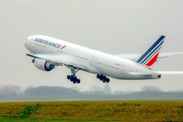 An Air France Boeing 777 takes off in this file photo. A similar Air France plane made an emergency diversion to Halifax on April 5, 2021, after a medical emergency on board. (Christophe Leroux/Air France - image credit)