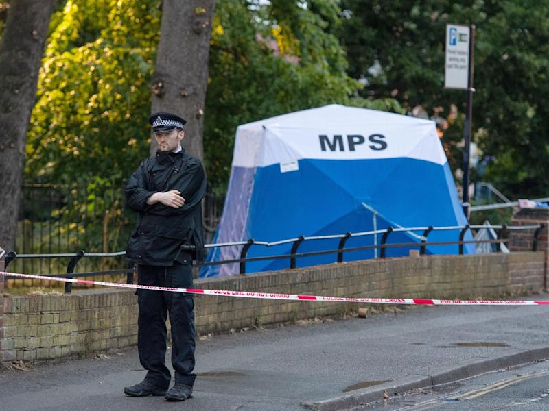 The scene in Seely Drive, Dulwich, south London following the fatal stabbing of an 18 year old man: PA