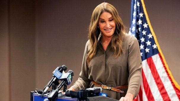 PHOTO: Caitlyn Jenner, a Republican candidate for California governor, speaks during a news conference in Sacramento, Calif., July 9, 2021. (Noah Berger/AP, FILE)