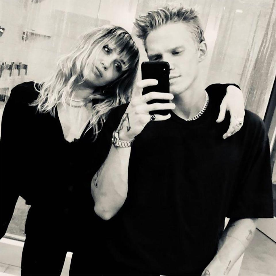 """<p>The next month, Cyrus was <a href=""""https://www.elle.com/culture/celebrities/a29359424/miley-cyrus-cody-simpson-kiss-report/"""" rel=""""nofollow noopener"""" target=""""_blank"""" data-ylk=""""slk:spotted getting cozy"""" class=""""link rapid-noclick-resp"""">spotted getting cozy</a> with longtime friend Cody Simpson. Hemsworth <a href=""""https://www.elle.com/culture/celebrities/a29696761/miley-cyrus-liam-hemsworth-instagram-unfollow/"""" rel=""""nofollow noopener"""" target=""""_blank"""" data-ylk=""""slk:unfollowed Cyrus on Instagram"""" class=""""link rapid-noclick-resp"""">unfollowed Cyrus on Instagram</a> after she shared photos of herself and Simpson dancing in the Nashville home where they got married. After a sizable amount of Instagram PDA, couples Halloween costumes, and even a <a href=""""https://www.elle.com/culture/music/a32631721/cody-simpson-miley-cyrus-captains-dance-with-the-devil-interview/"""" rel=""""nofollow noopener"""" target=""""_blank"""" data-ylk=""""slk:music video collaboration in quarantine"""" class=""""link rapid-noclick-resp"""">music video collaboration in quarantine</a>, the couple called it quits 10 months later. On August 13, almost a year to the day since Hemsworth confirmed he and Cyrus's split, it was reported that <a href=""""https://www.elle.com/culture/celebrities/a29836191/miley-cyrus-cody-simpson-break-up-report/"""" rel=""""nofollow noopener"""" target=""""_blank"""" data-ylk=""""slk:they'd broken up"""" class=""""link rapid-noclick-resp"""">they'd broken up</a>. Cyrus confirmed the report herself <a href=""""https://www.cosmopolitan.com/entertainment/celebs/a33603843/miley-cyrus-confirms-cody-simpson-breakup/"""" rel=""""nofollow noopener"""" target=""""_blank"""" data-ylk=""""slk:on Instagram Live"""" class=""""link rapid-noclick-resp"""">on Instagram Live</a>. """"It came out that me and my boyfriend have broken up. It was confirmed by a 'reliable source' even though no one is reliable in a relationship except the individuals who are participating in it,"""" she explained. """"But right now, two halves can't make a whole, and we're individually just working on ourselv"""