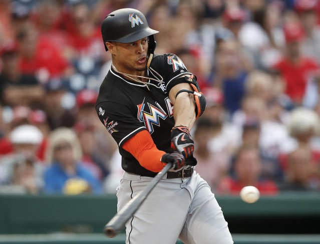 Giancarlo Stanton's huge month of August has helped elevate the Miami Marlins in the Power Rankings. (AP)