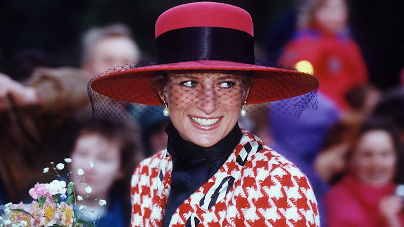 Princess Diana on Christmas Day at Sandringham wearing gingham