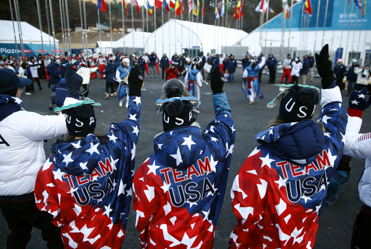 <p>Members of the United States Olympic Team dance during a welcome ceremony inside the PyeongChang Olympic Village prior to the 2018 Winter Olympics in PyeongChang, South Korea. (AP) </p>