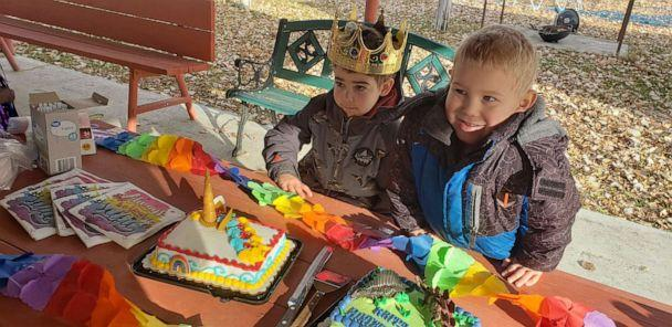 PHOTO: Wyatt Haas, 5, poses with his brother Asher, 4, at a party in Montana, on Dec. 6 to send Wyatt off as he undergoes brain cancer treamtent. (Jennifer Nielsen)