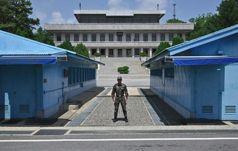 The border village of Panmunjom in the Demilitarised Zone divides the two Koreas