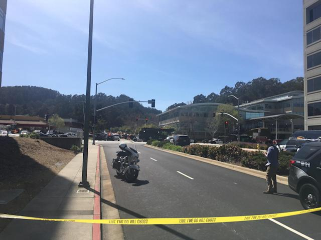 <p>The offices of YouTube are seen in the distance outside after an active shooting at YouTube's offices in San Bruno, Calif. on April 3, 2018. (Photo: Josh Edelson/AFP/Getty Images) </p>