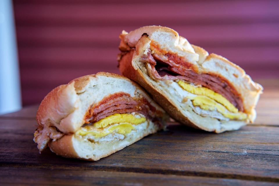 """<div><p>""""Depending on where you live, you might find Taylor ham as a pork roll in your stores, if at all."""" </p><p>—<a href=""""https://www.reddit.com/user/phoenixthoughts/"""" rel=""""nofollow noopener"""" target=""""_blank"""" data-ylk=""""slk:u/phoenixthoughts"""" class=""""link rapid-noclick-resp"""">u/phoenixthoughts</a></p><p><b>Runner-up:</b> """"A big plate of disco fries; which are cheese and brown gravy on top of french fries."""" —<a href=""""https://www.reddit.com/user/peachplastic/"""" rel=""""nofollow noopener"""" target=""""_blank"""" data-ylk=""""slk:u/peachplastic"""" class=""""link rapid-noclick-resp"""">u/peachplastic</a></p></div><span> Getty Images</span>"""