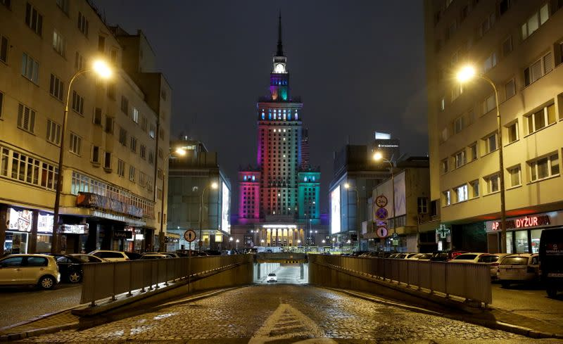 Palace of Culture and Science is illuminated in rainbow colours in a gesture of solidarity with the LGBT community during International Day of Tolerance in Warsaw