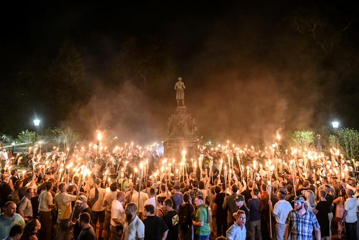 White nationalists participate in a torch-lit march on the grounds of the University of Virginia ahead of the Unite the Right rally in Charlottesville, Aug. 11, 2017. (Stephanie Keith/Reuters)
