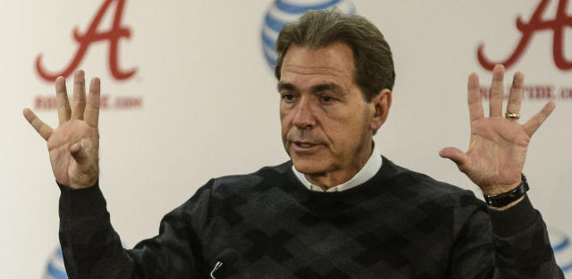 Alabama NCAA college football coach Nick Saban gestures as he speaks during a press conference Monday, Nov. 25, 2013 in Tuscaloosa, Ala. No college football team is more accustomed to rampant hype than No. 1 Alabama. Sure, the Iron Bowl against No. 4 Auburn is huge, but Nick Saban's team has faced 20 top 10 opponents over the past six years and beaten 16 of them. (AP Photo/AL.com, Vasha Hunt)