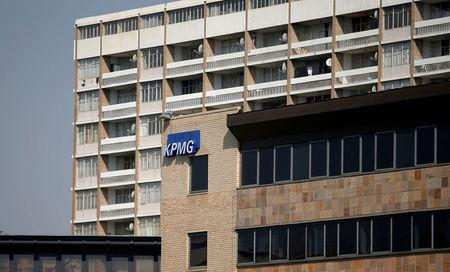 The KPMG logo is seen at the company's head offices in Parktown, Johannesburg